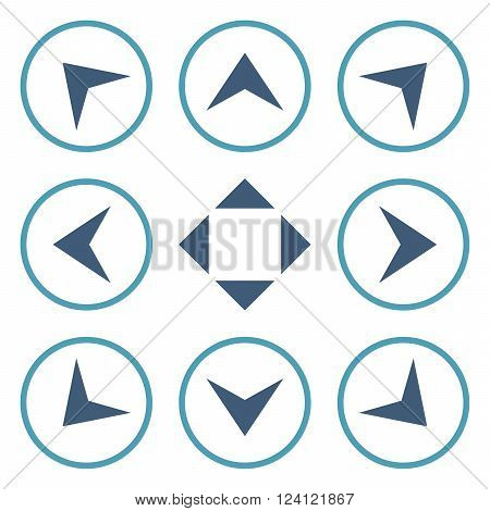 Circled Arrowheads vector icon set. Collection style is bicolor cyan and blue flat symbols on a white background. Circled Arrowheads icons.