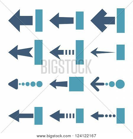 Pull Left vector icon set. Collection style is bicolor cyan and blue flat symbols on a white background. Pull Left icons.