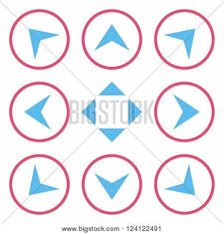 Circled Arrowheads vector icon set. Collection style is bicolor pink and blue flat symbols on a white background. Circled Arrowheads icons.