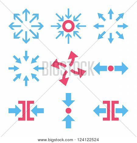Compress and Explode Arrows vector icon set. Collection style is bicolor pink and blue flat symbols on a white background. Compress And Explode Arrows icons.