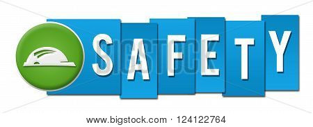Safety text with helmet symbol over blue background.