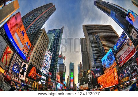 NEW YORK USA FEB 6: Colorful high dynamic range (HDR) image of the Times Square on a blue sky through fisheye lens NYC USA Feb 6 2016