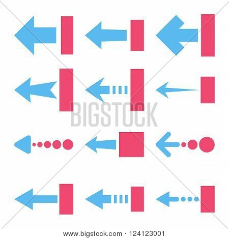 Pull Left vector icon set. Collection style is bicolor pink and blue flat symbols on a white background. Pull Left icons.