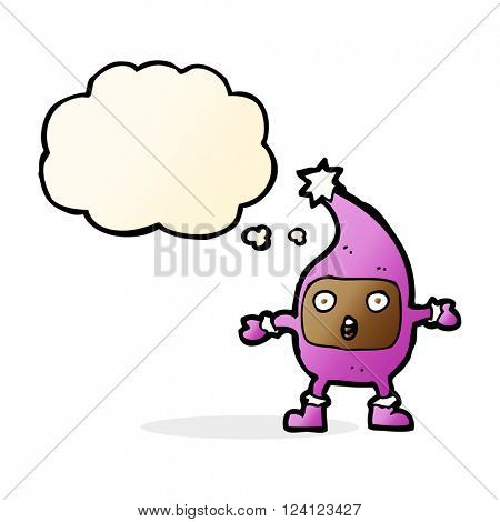 cartoon funny creature with thought bubble