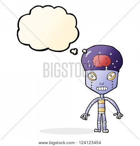 cartoon weird robot with thought bubble