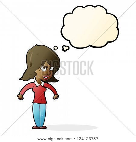 cartoon mean woman with thought bubble