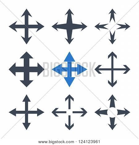 Expand Arrows vector icon set. Collection style is bicolor smooth blue flat symbols on a white background. Expand Arrows icons.