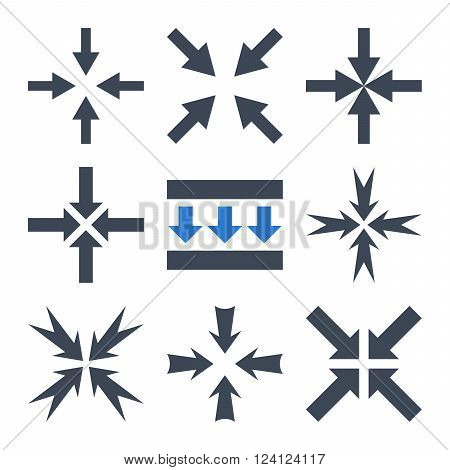 Pressure Arrows vector icon set. Collection style is bicolor smooth blue flat symbols on a white background. Pressure Arrows icons.