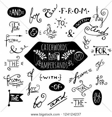 Big set number 2 of handdrawn ampersands and catchwords on white background. Design elements for banner, card, invitation, label, postcard, vignette, label, poster, emblem etc. Vector illustration.