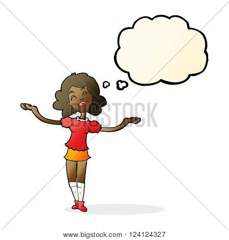 cartoon woman taking praise with thought bubble
