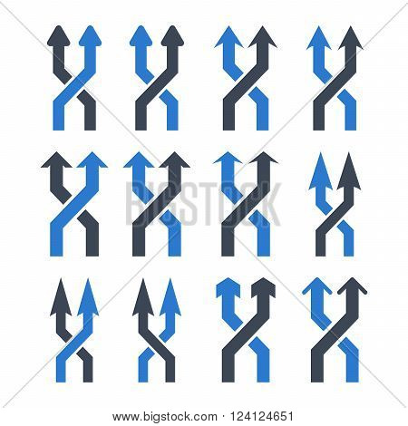 Shuffle Arrows Up vector icon set. Collection style is bicolor smooth blue flat symbols on a white background. Shuffle Arrows Up icons.