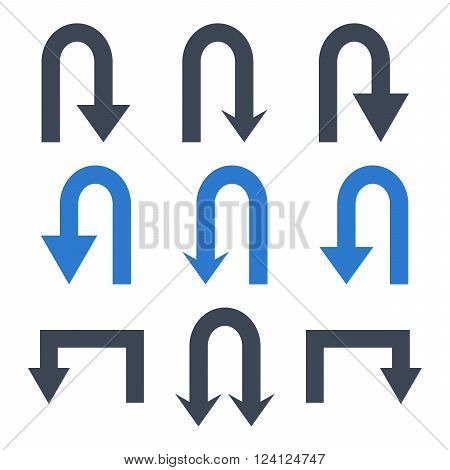 Turn Back Arrows vector icon set. Collection style is bicolor smooth blue flat symbols on a white background. Turn Back Arrows icons.