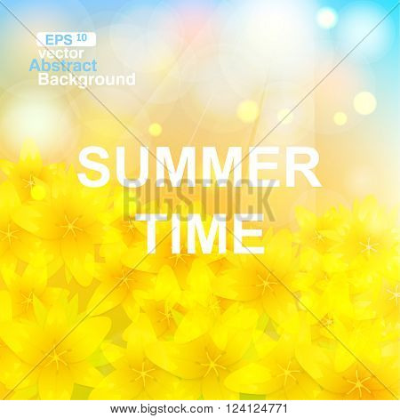 Summer time background with the blue sky and the making the way sun beams. The yellow bright flowers lit with the sun. Summer landscape.
