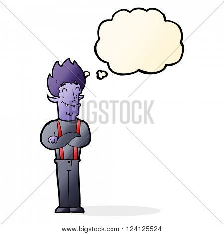 cartoon happy vampire man with thought bubble