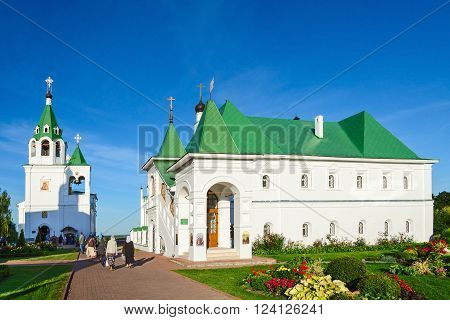 MUROM RUSSIA - AUGUST 23 2015: Unidentified people visit the Church of St. Basil of Ryazan and Church of Intercession in famous Spaso-Preobrazhensky male monastery Murom Golden Ring of Russia