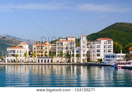 TIVAT MONTENEGRO - SEPTEMBER 16 2015: Modern hotel on the shore of the Bay of Tivat Montenegro