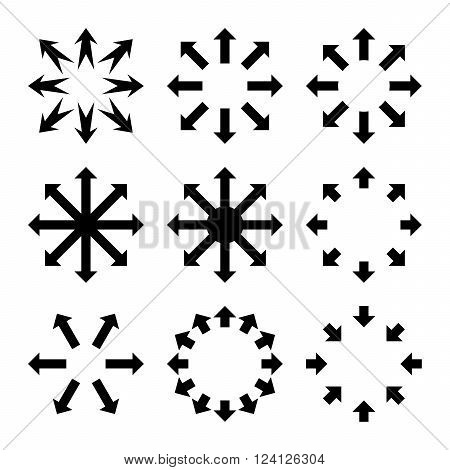Maximize Arrows vector icon set. Collection style is black flat symbols on a white background. Maximize Arrows icons.