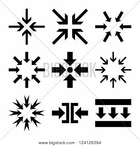 Minimize Arrows vector icon set. Collection style is black flat symbols on a white background. Minimize Arrows icons.