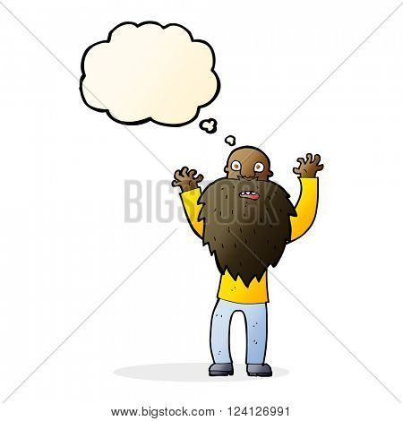 cartoon frightened old man with beard with thought bubble