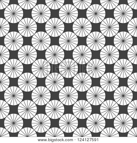 Vector seamless pattern. Modern stylish texture. Regularly repeating elegant geometric pattern with linear circles rhombuses diamonds. Vector seamless background. Contemporary design