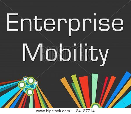 Enterprise mobility text written over dark colorful background.