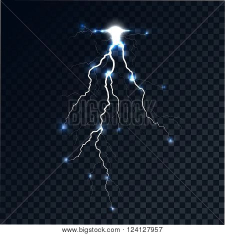 Flash of a lightning on a translucent background. The category of energy the bright shining arch. Realistic lighting effect. Vector abstract background