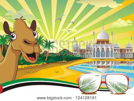The scenery, the Arab Palace on the coast. The rest on the Arabian coast. Camel. Vector illustration