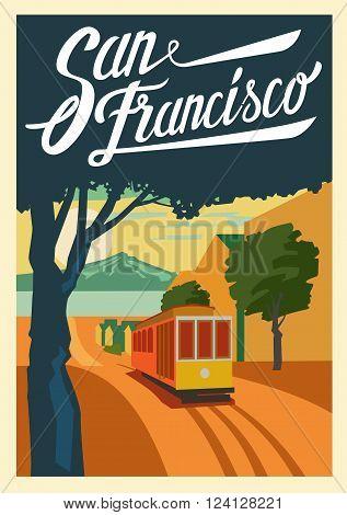 vector color poster San Francisco in California