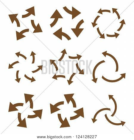 Centrifugal Arrows vector icon set. Collection style is brown flat symbols on a white background. Centrifugal Arrows icons.