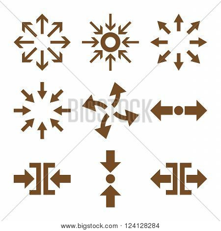 Compress and Explode Arrows vector icon set. Collection style is brown flat symbols on a white background. Compress And Explode Arrows icons.