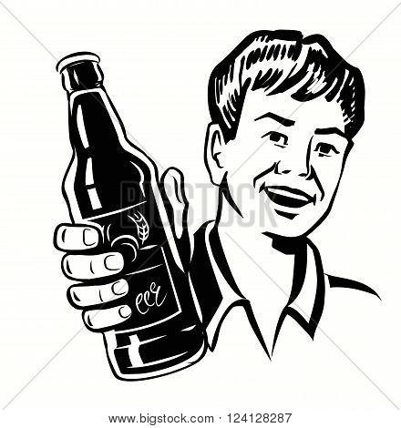 vector black symbol of Retro Beer Guy