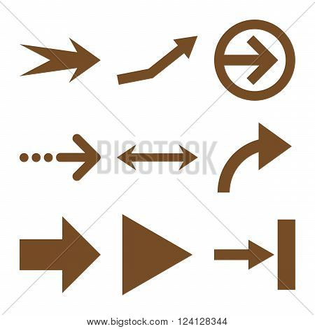 Direction Arrows vector icon set. Collection style is brown flat symbols on a white background. Direction Arrows icons.
