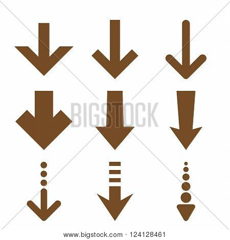 Down Arrows vector icon set. Collection style is brown flat symbols on a white background. Down Arrows icons.