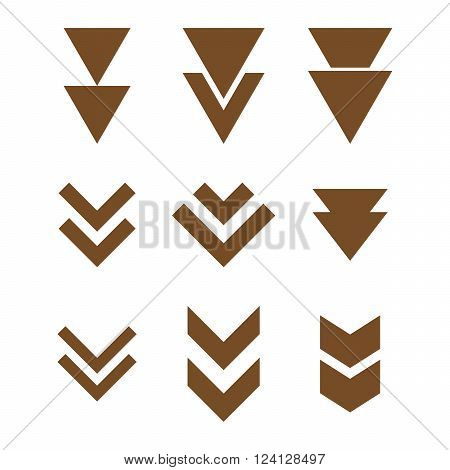 Down Direction vector icon set. Collection style is brown flat symbols on a white background. Down Direction icons.