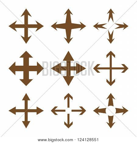 Expand Arrows vector icon set. Collection style is brown flat symbols on a white background. Expand Arrows icons.