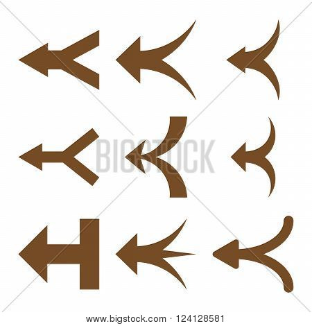 Join Arrows Left vector icon set. Collection style is brown flat symbols on a white background. Join Arrows Left icons.