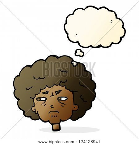 cartoon bitter old woman with thought bubble