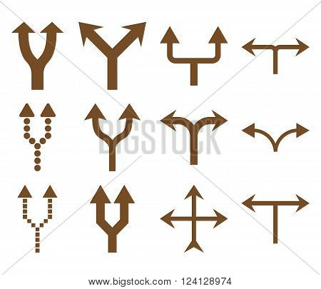 Junction Arrows Up vector icon set. Collection style is brown flat symbols on a white background. Junction Arrows Up icons.