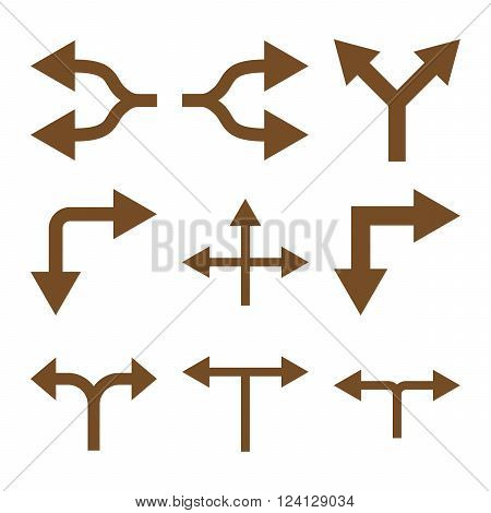 Junction Arrows vector icon set. Collection style is brown flat symbols on a white background. Junction Arrows icons.