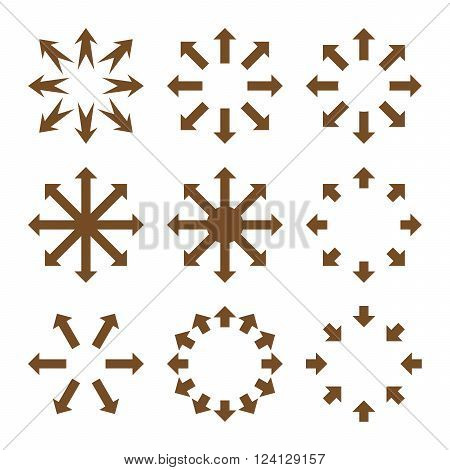 Maximize Arrows vector icon set. Collection style is brown flat symbols on a white background. Maximize Arrows icons.