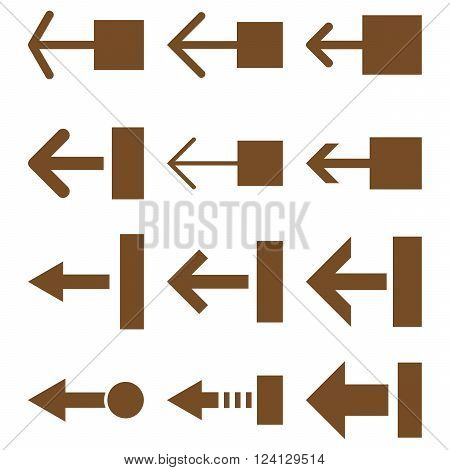 Pull Left vector icon set. Collection style is brown flat symbols on a white background. Pull Left icons.
