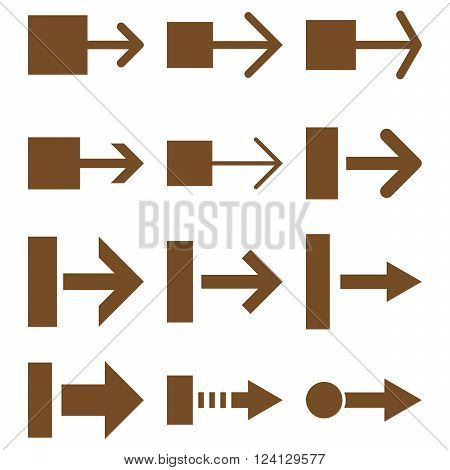 Pull Right vector icon set. Collection style is brown flat symbols on a white background. Pull Right icons.