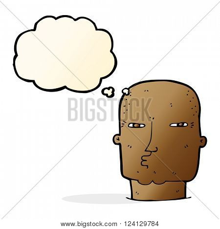 cartoon bald tough guy with thought bubble