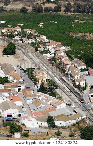 ALORA, SPAIN - JUNE 27, 2008 - Elevated view of the railway station and surrounding countryside seen from the castle) Alora Malaga Province Andalusia Spain Western Europe, June 27, 2008.