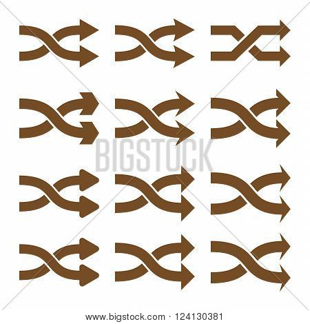 Shuffle Arrows Right vector icon set. Collection style is brown flat symbols on a white background. Shuffle Arrows Right icons.