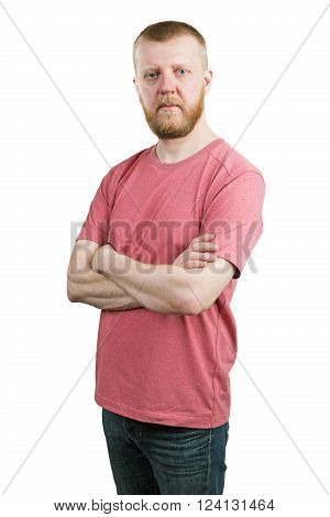 Bearded young man in a T-shirt and jeans