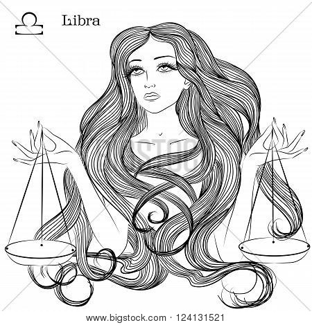 Zodiac. Vector illustration of the astrological sign of Libra as a beautiful girl with long hair. Lineart for coloring book page