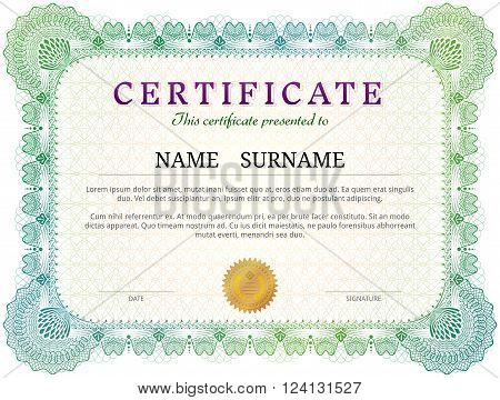 Certificate template with guilloche elements. Green diploma border design for personal conferment. Qualitative vector layout for award patent validation licence education authentication achievement etc. It has transparency blending modes gradients