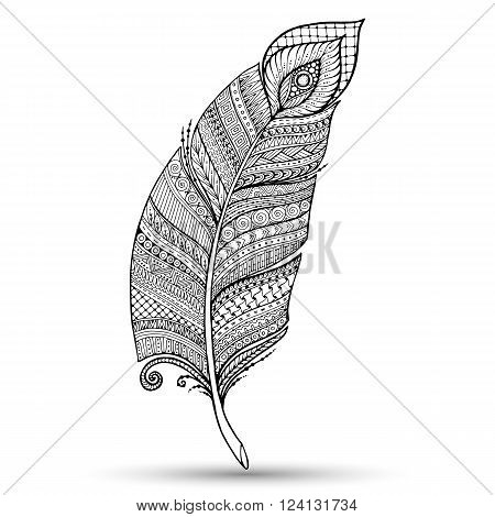 Artistically drawn stylized vector feather on a white background. Vintage tribal feather. Series of doodle feather.