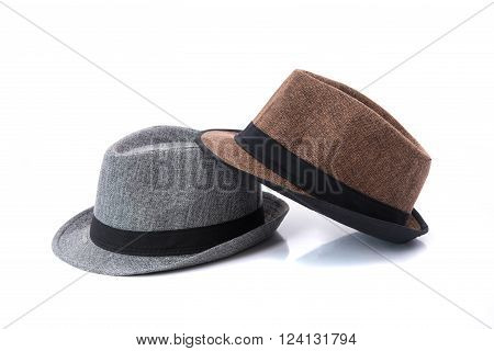 Close up of beautiful panama hat on white background isolated.